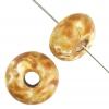 Donut 17mm White Alabaster Brown Marble